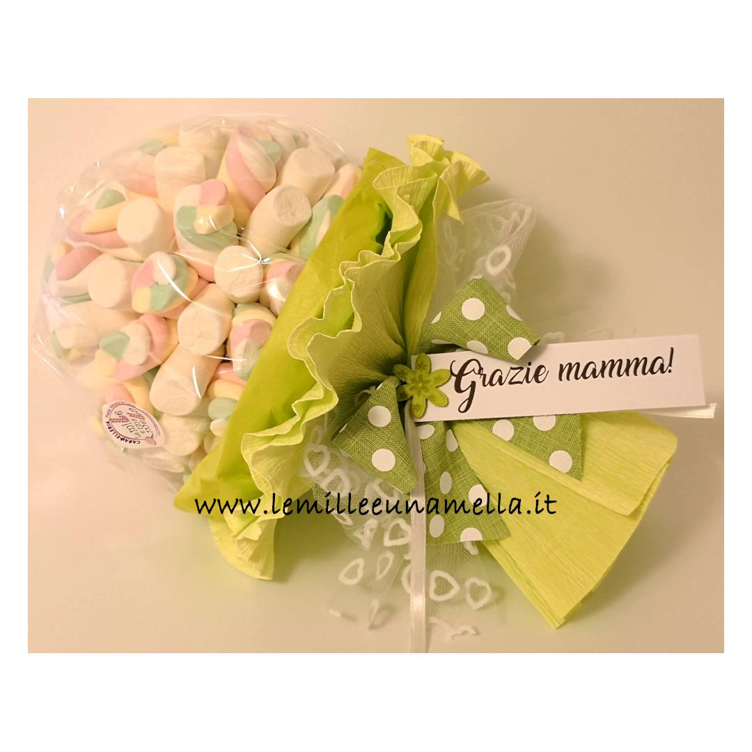 bouquet di marshmallow con messaggio vendita online Le Mille e una Mella