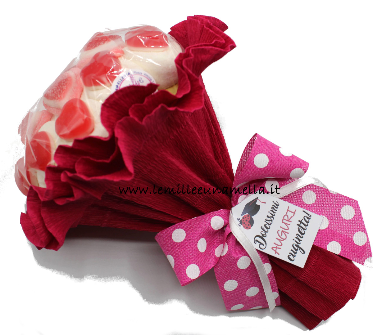 bouquet di marshmallow e cuoricini gommosi con messaggio auguri personalizzato vendita online Le Mille e una Mella