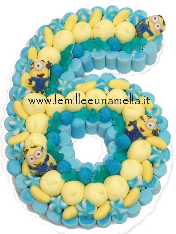 6 Torta Di Caramelle Compleanno Numero 6 Grande Minion Le Mille
