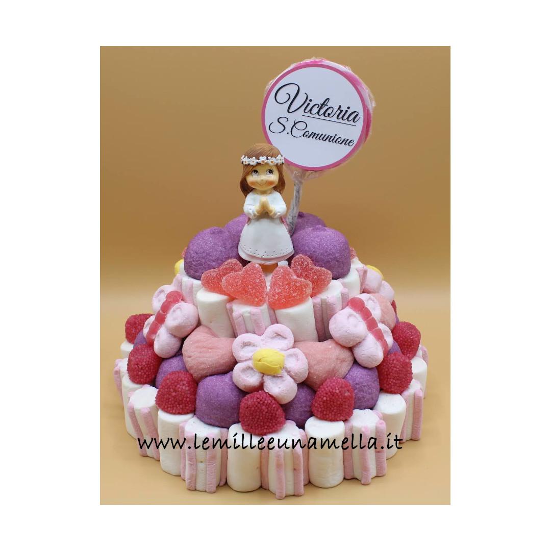 torta di caramelle e marshmallow per Comunione, vendita online Le Mille e una Mella