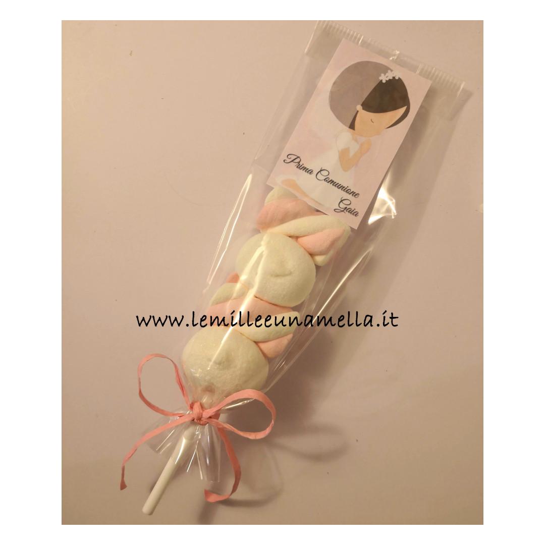 spiedino bomboniera marshmallow caramelle Comunione Cresima Battesimo vendita online Le Mille e una Mella
