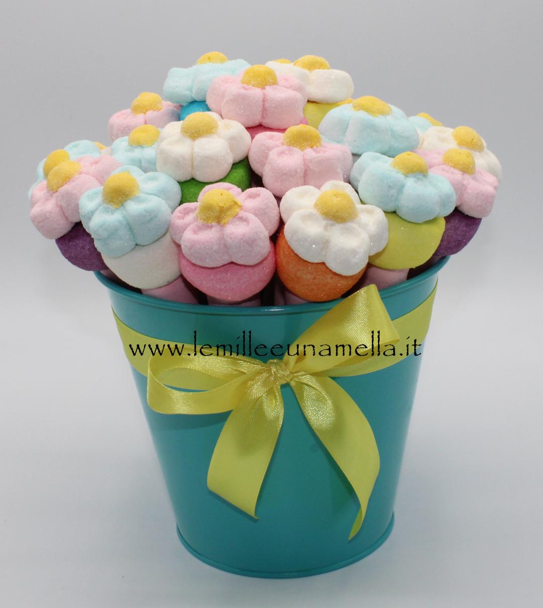 bouquet vaso marshmallow margherite fiori spiedini vendita online Le Mille e una Mella