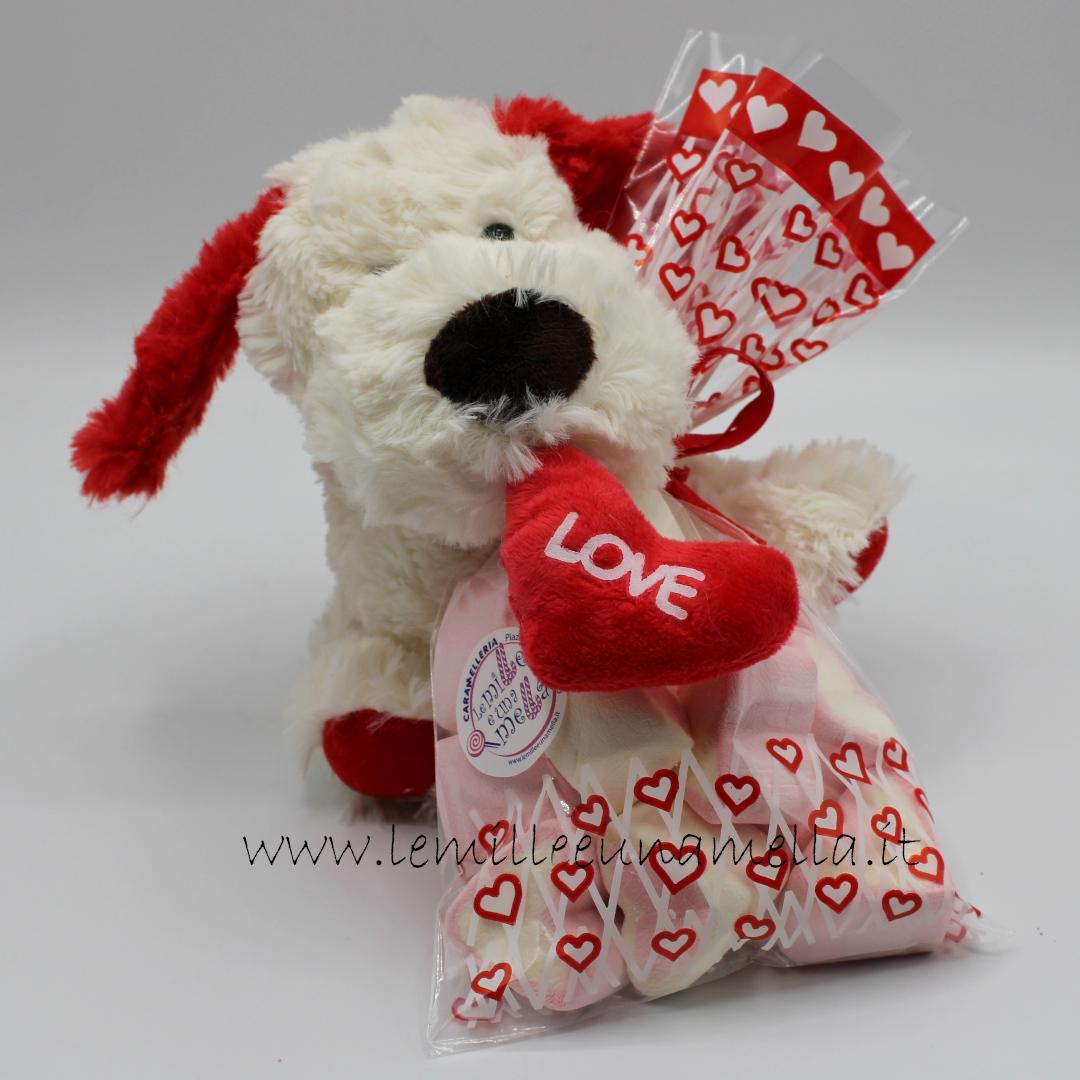 cagnolino peluche San Valentino cuori marshmallow vendita online Le Mille e una Mella