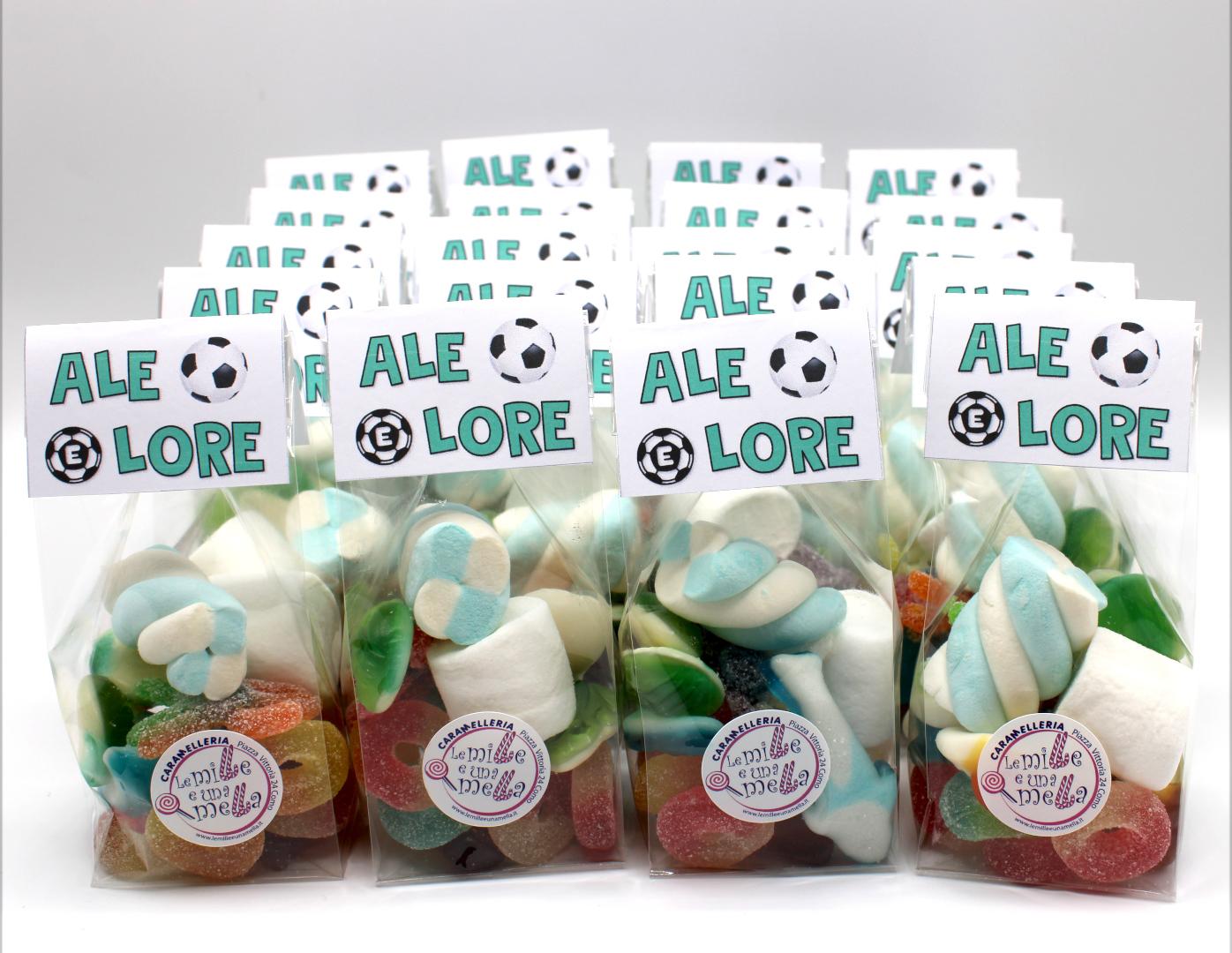 sacchetti caramelle gommose marshmallow compleanno fine festa tema calcio vendita online Le Mille e una Mella