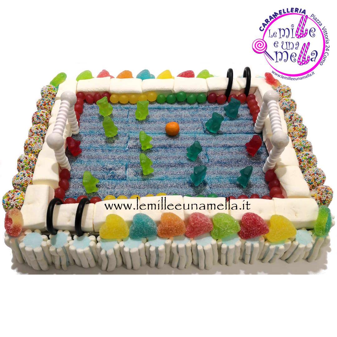 torta di caramelle piscina Pallanuoto, vendita online Le Mille e una Mella