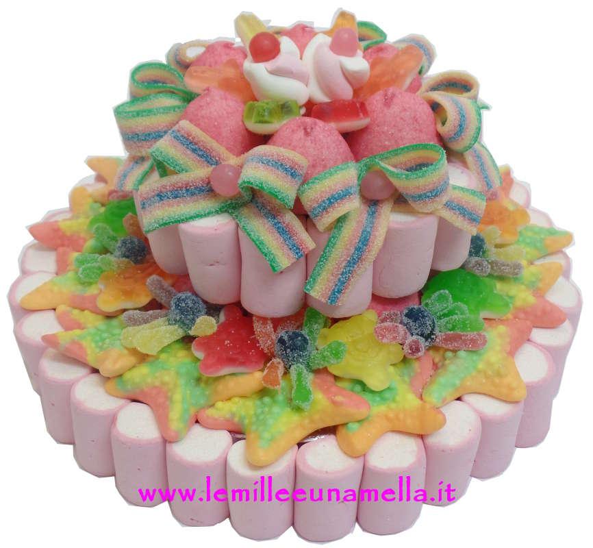 Torta di caramelle a 2 piani rosa base 24 cm le mille e for Piani a 2 piani