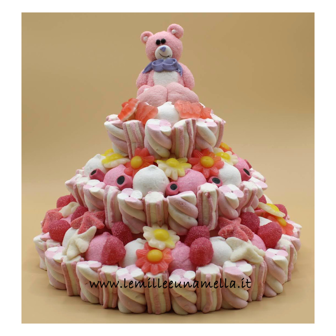 torta di caramelle e marshmallow Battesimo Nascita vendita online Le Mille e una Mella