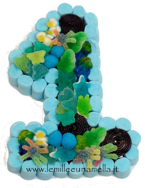 1 torta di caramelle compleanno numero 1 le mille e for Numero di deputati e senatori