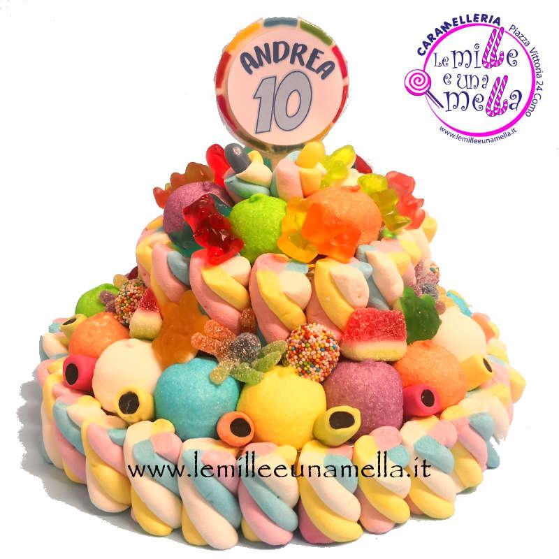 torta di caramelle e marshmallow per compleanno, vendita online Le Mille e una Mella