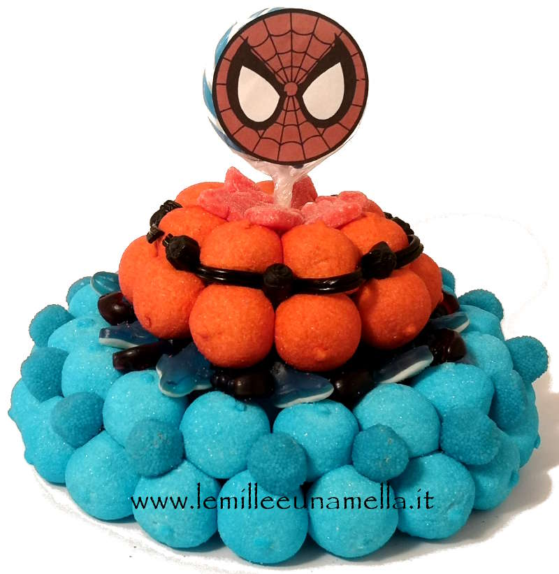 TORTA DI CARAMELLE A 2 PIANI SPIDERMAN