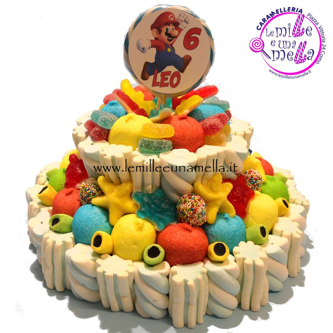 torta di caramelle e marshmallow per compleanno Super Mario, vendita online Le Mille e una Mella