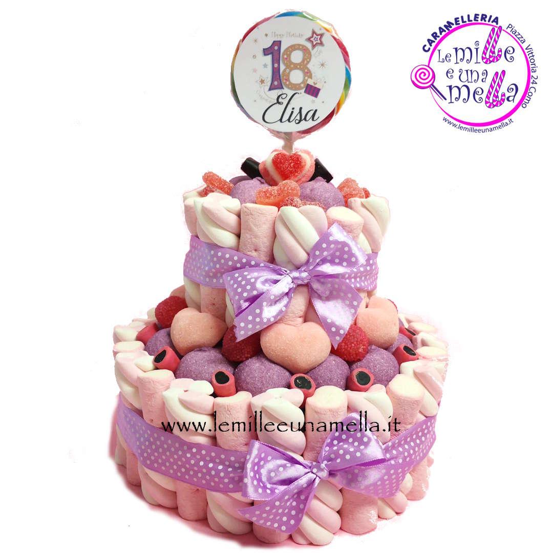torta di caramelle e marshmallow per compleanno diciottesimo 18 vendita online Le Mille e una Mella
