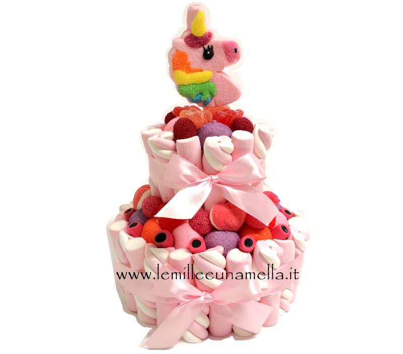 torta di caramelle e marshmallow per compleanno unicorno, vendita online Le Mille e una Mella