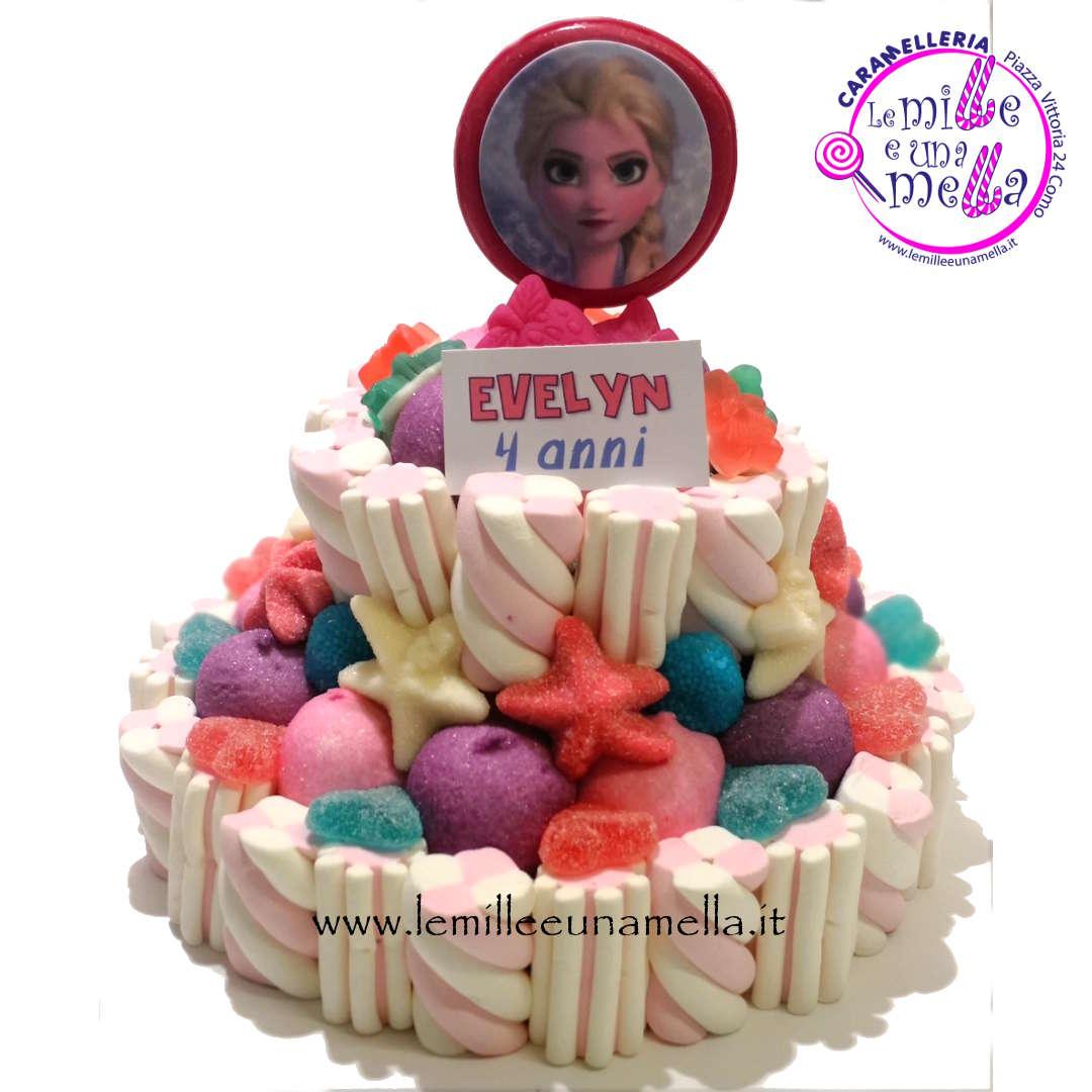 torta di caramelle e marshmallow per compleanno Frozen, vendita online Le Mille e una Mella