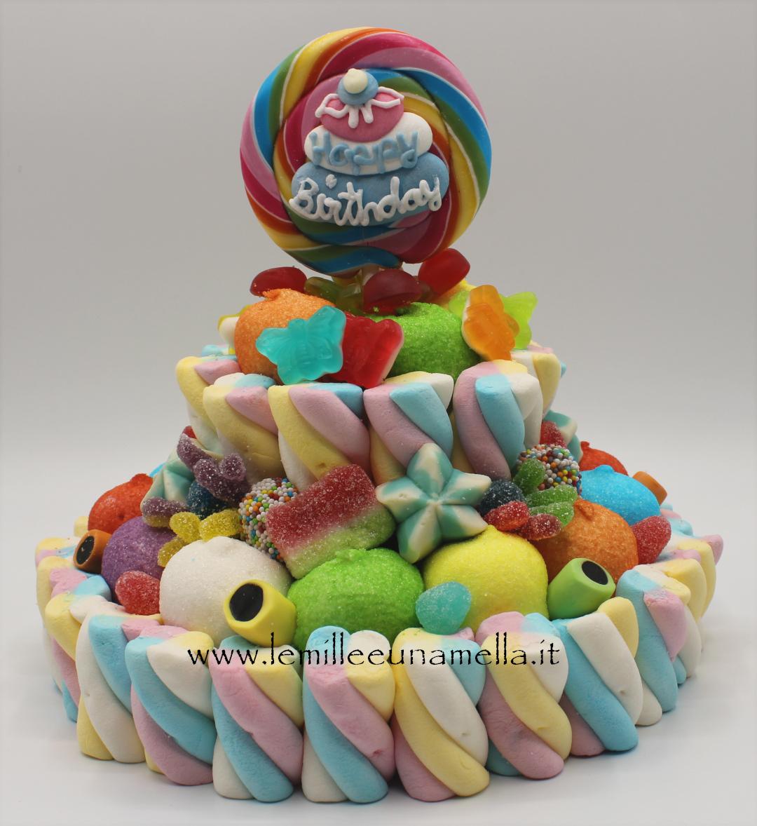 torta di caramelle gommose e marshmallow happy birthday vendita online Le Mille e una Mella