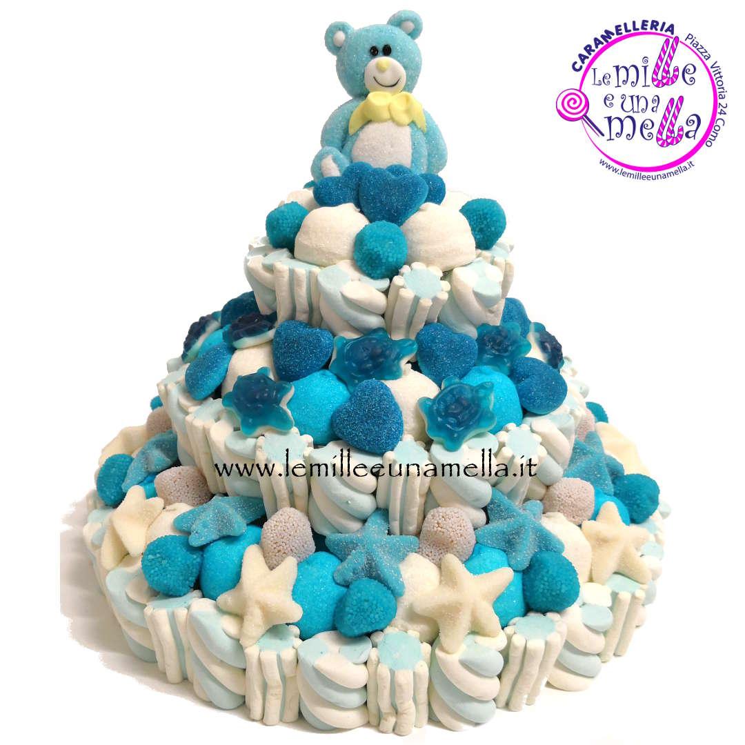 torta di caramelle e marshmallow per nascita e Battesimo, vendita online Le Mille e una Mella