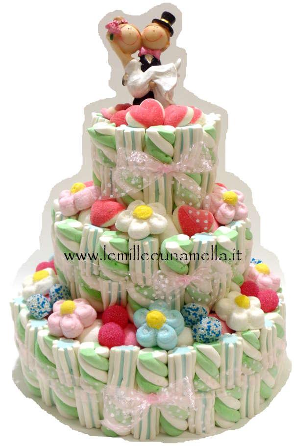 WEDDING CAKE - TORTA DI CARAMELLE A 3 PIANI CON SPOSINI (BASE 27CM)