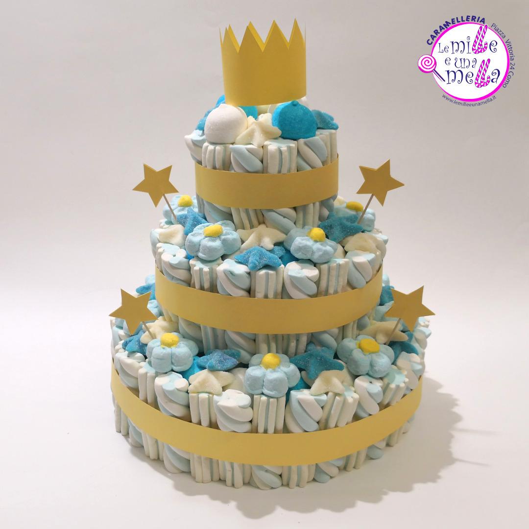 torta di caramelle e marshmallow per battesimo, vendita online Le Mille e una Mella