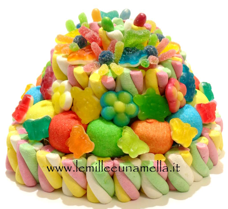 TORTA DI CARAMELLE E MARSHMALLOW A 2 PIANI COLORATA - BASE 20CM
