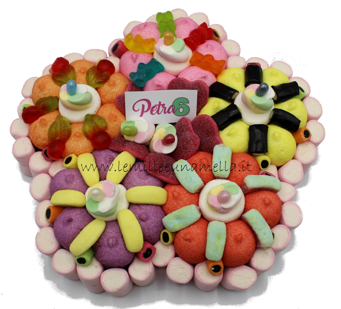 torta di caramelle e marshmallow a forma di fiore per compleanno, vendita online Le Mille e una Mella