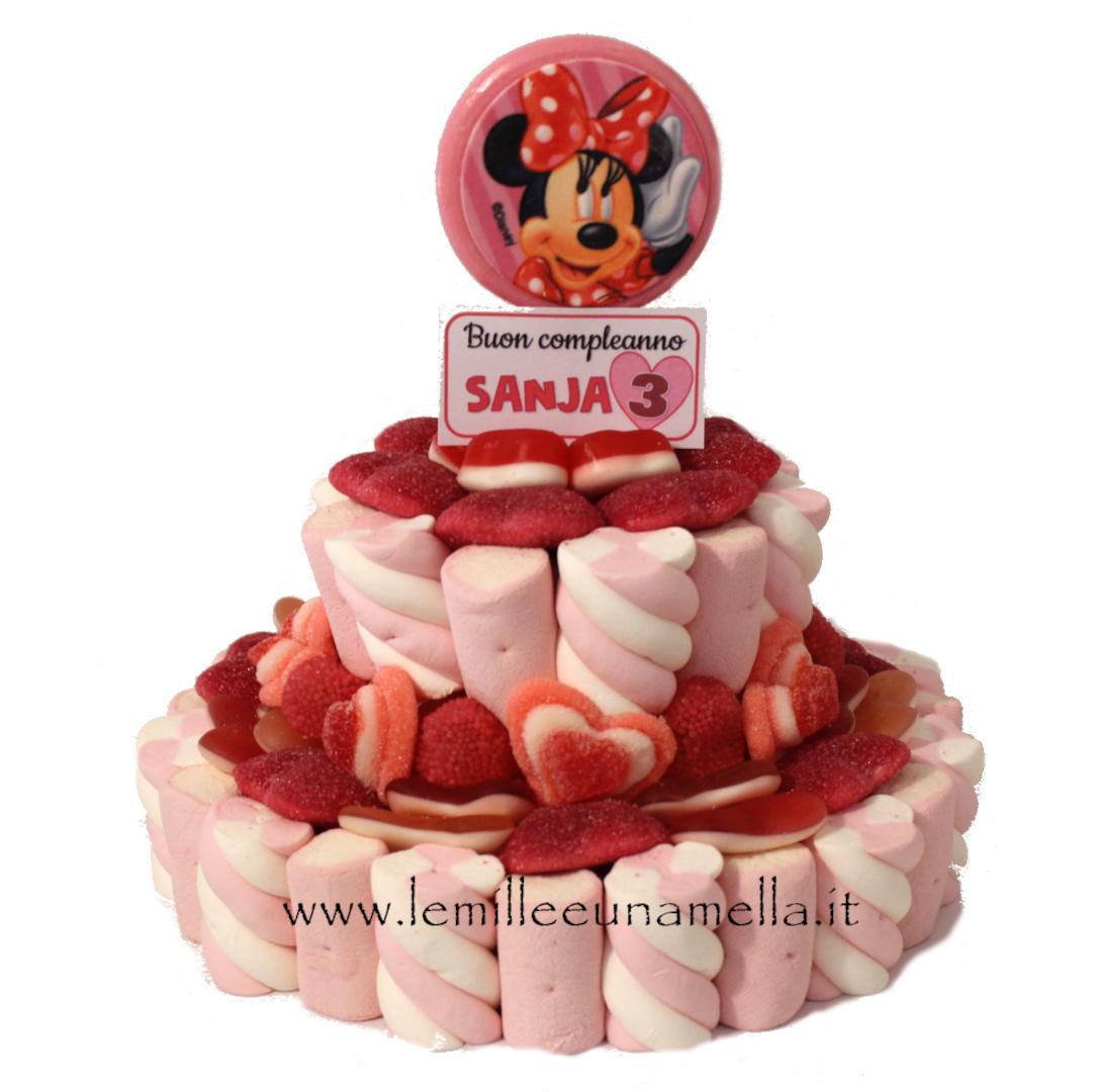 torta di caramelle e marshmallow Minnie Topolino vendita online Le Mille e una Mella