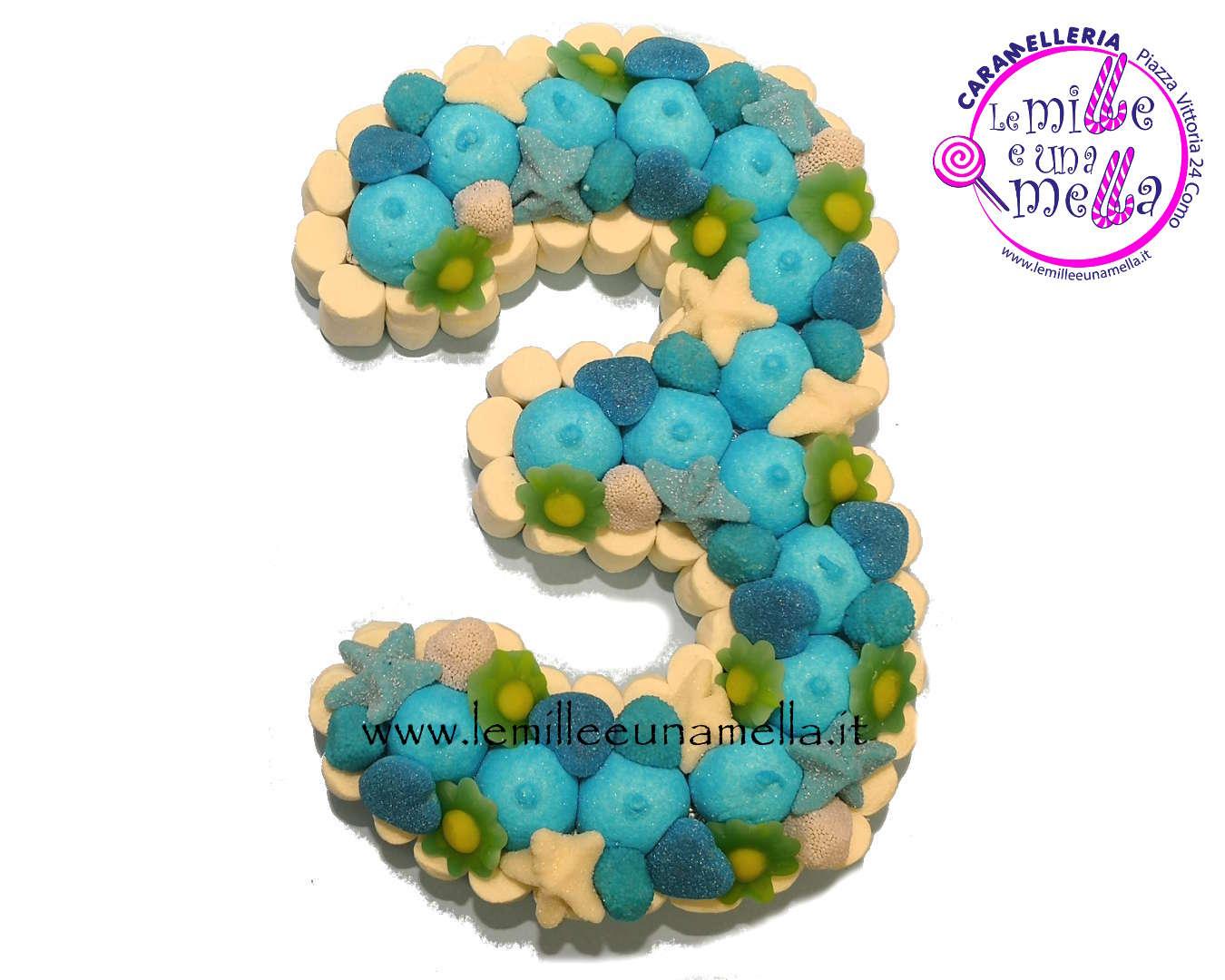 torta di caramelle e marshmallow a forma di numero per compleanno, vendita online Le Mille e una Mella