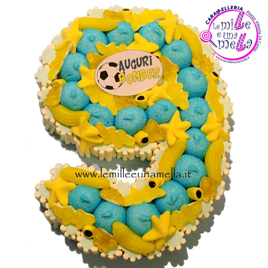 torta di caramelle a forma di numero compleanno bambini vendita online Le Mille e una Mella