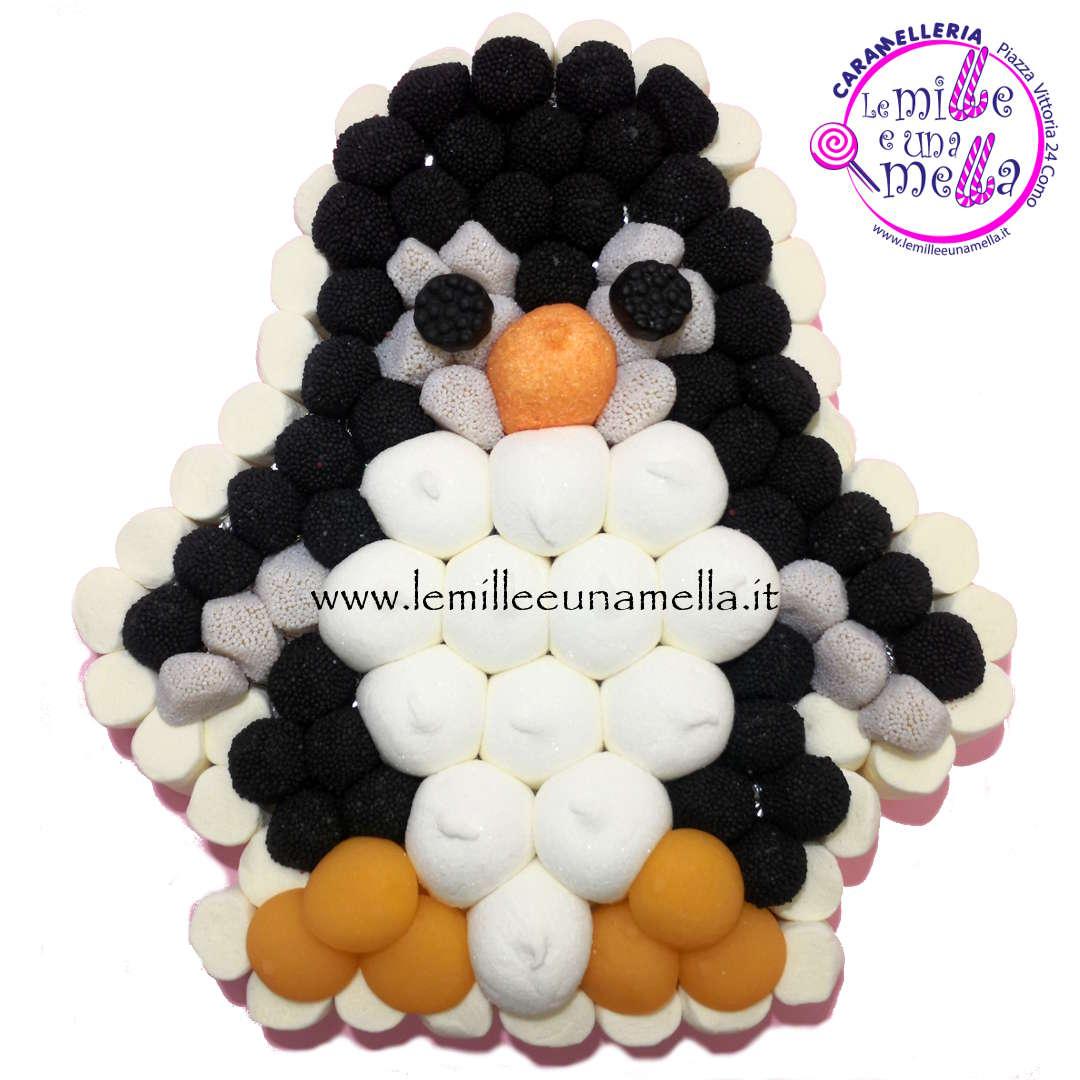 torta di caramelle e marshmallow a forma di pinguino per compleanno, vendita online Le Mille e una Mella