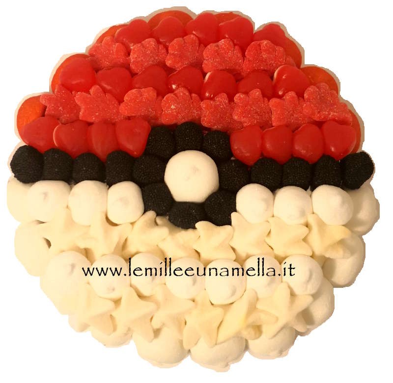 TORTA DI CARAMELLE E MARSHMALLOW POKEMON BALL