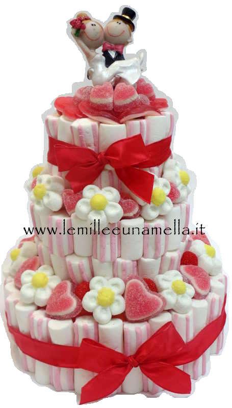 Eccezionale WEDDING CAKE - TORTA DI CARAMELLE A 3 PIANI CON SPOSINI (BASE 27CM  ZS94