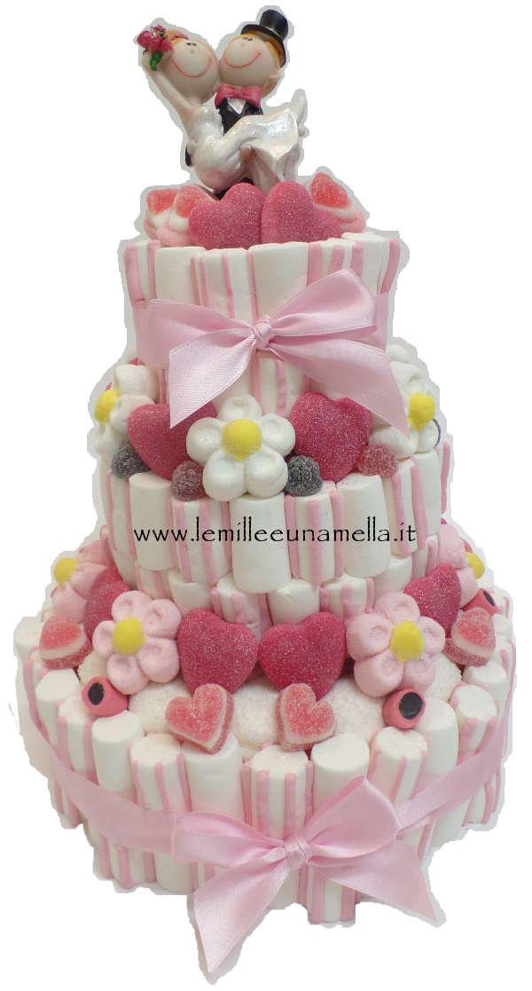 Wedding cake torta di caramelle a 3 piani con sposini for Piani domestici di base