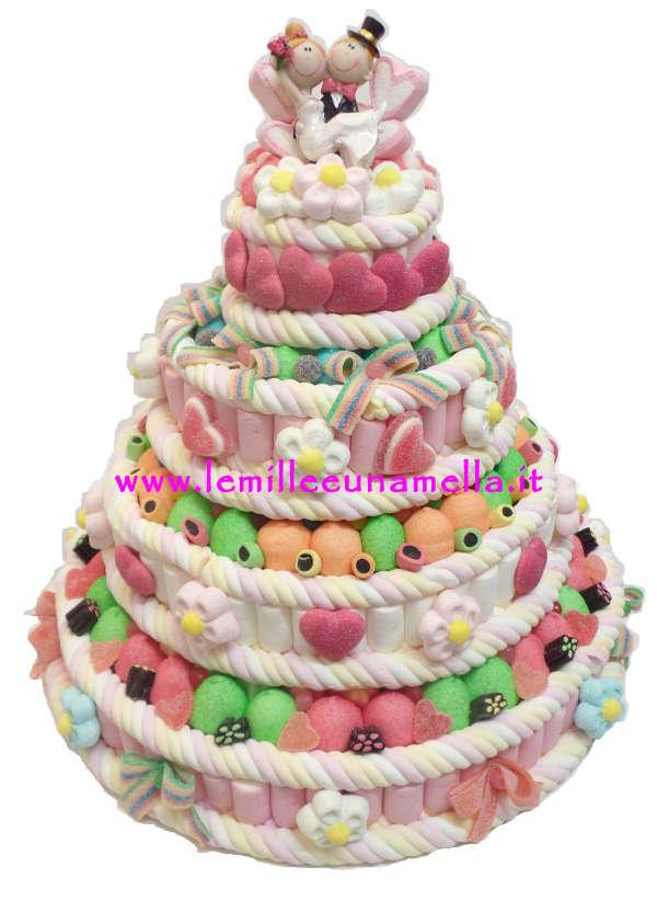 WEDDING CAKE - TORTA DI CARAMELLE A 4 PIANI CON SPOSINI (BASE 44CM)