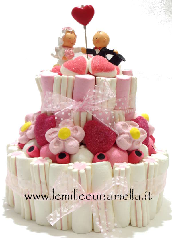 WEDDING CAKE - TORTA NUZIALE A 2 PIANI DOPPI BASE 20CM
