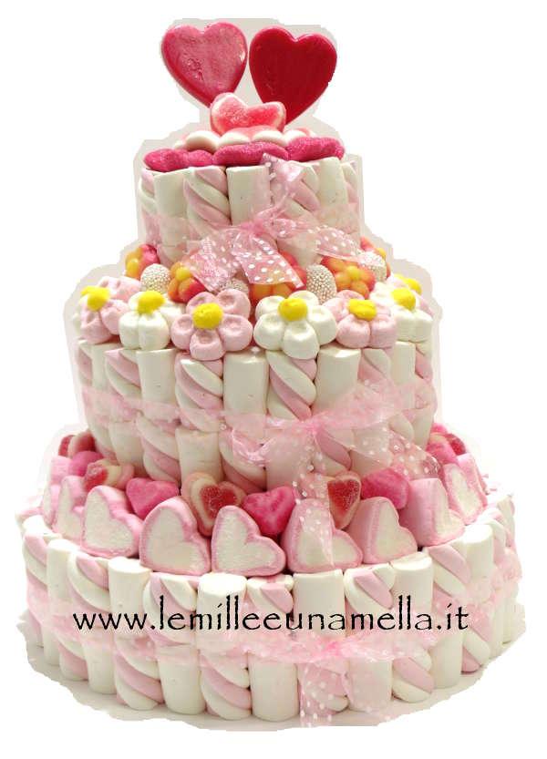 WEDDING CAKE - TORTA NUZIALE A 3 PIANI DOPPI BASE 30CM