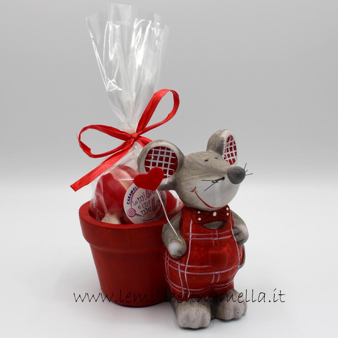 vasetto ceramica topino innamorato San Valentino cuori gommosi vendita online Le Mille e una Mella